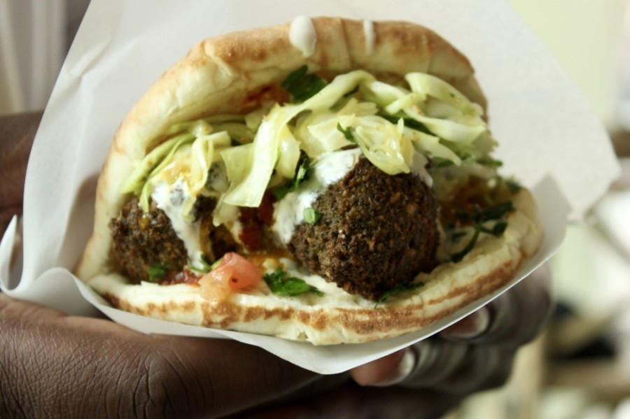 Falafel—served in a pita or without one—is TLV's most ordered dish. (Courtesy TLV)