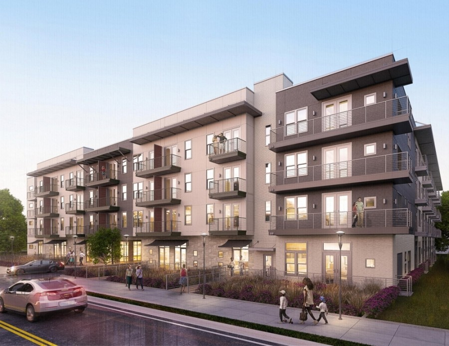 The Bridge at Turtle Creek apartment complex will provide more than 300 affordable units upon completion in 2022. (Rendering courtesy Journeyman Group)