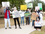 Hamilton Pool Road residents protest outside of Bee Cave City Council on Nov. 10. (Courtesy Nancy Hernandez)