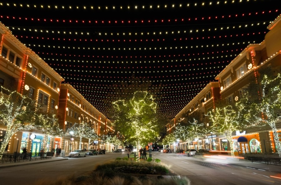 The Christmas in the Square event features the largest choreographed lights and music display in North Texas. (Courtesy Visit Frisco)
