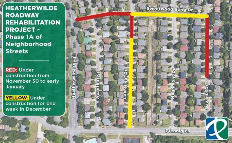 Beginning Nov. 30, the city of Pflugerville will kick off improvements on Sweetwood Song Drive, Laurelleaf Drive and Gazania Drive. (Courtesy city of Pflugerville)