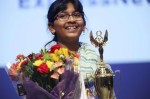 Harini Logan, 10, won the 66th annual Express-News Spelling Bee at the University of Texas at San Antonio downtown campus on March 17, 2019. For 2021, the event is slated to be held in March at the Brauntex Performing Arts Theatre in New Braunfels. (Photo by Jerry Lara, courtesy the San Antonio Express News)