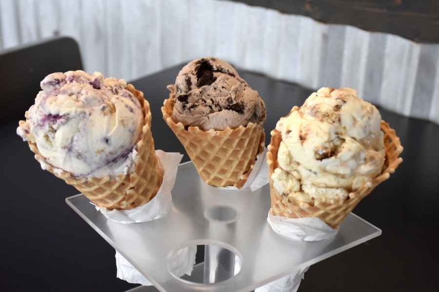 Blueberry Cheesecake, Cookies n' Cream and Caramel Crack are among the most popular flavors at Tongue in Cheek Ice Cream. (Makenzie Plusnick/Community Impact Newspaper)
