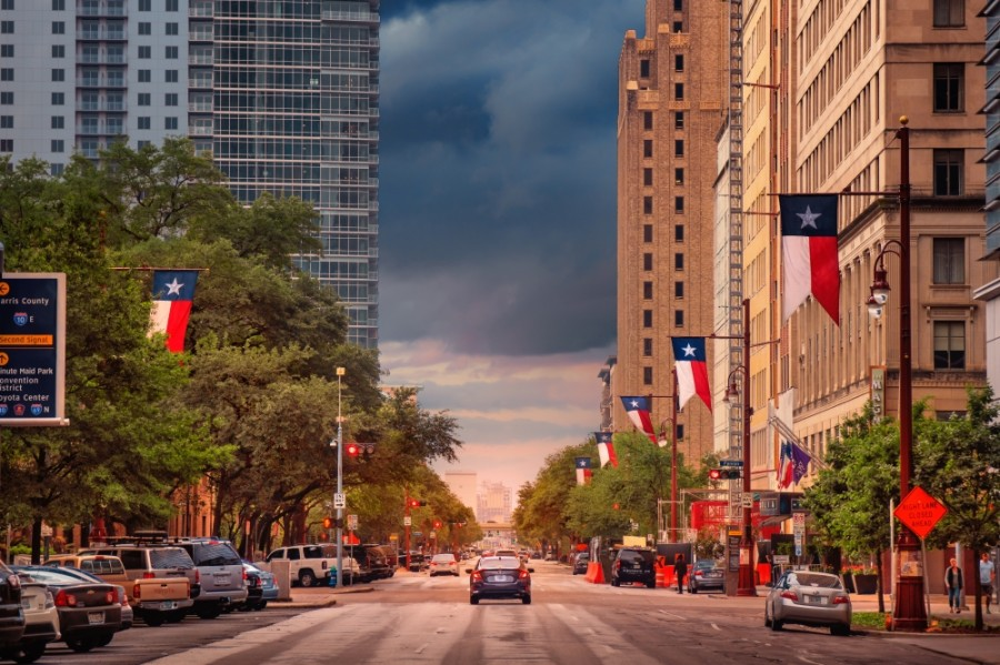 Downtown Houston Streetscape at dusk