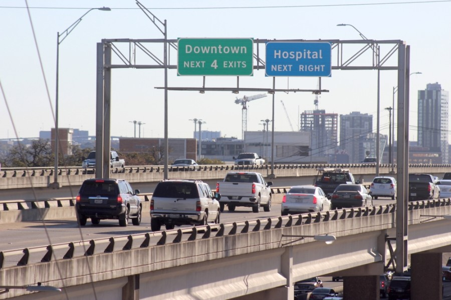 Traffic moves along the upper decks of I-35 near downtown Austin on Dec. 1. The Texas Department of Transportation is seeking public feedback on a $4.9 billion project to improve the 8-mile stretch of I-35 through downtown. (Jack Flagler/Community Impact Newspaper)