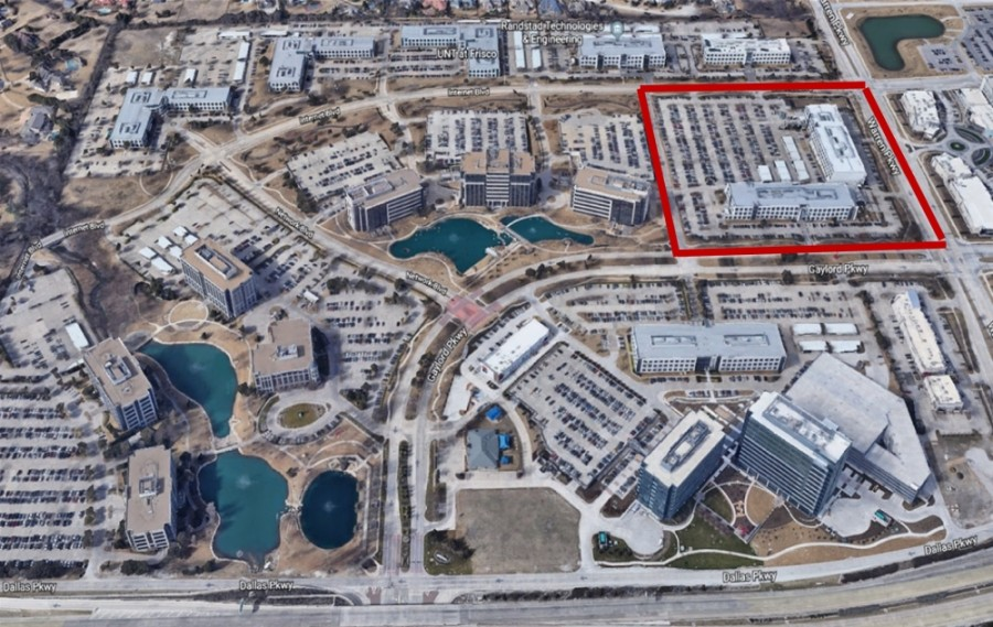 The portion of Hall Office Park to be redeveloped is at the corner of Warren and Gaylord parkways. (Courtesy city of Frisco)