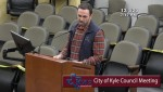 Kinder Morgan Vice President Alan Fore addresses Kyle City Council on Dec. 1. (Screenshot courtesy city of Kyle)