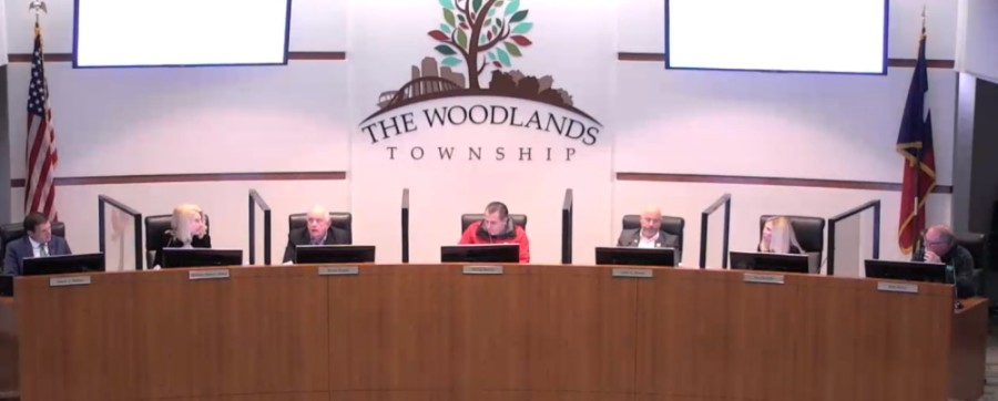 The Woodlands Township board of directors met at the township building Dec. 2. (Screenshot via The Woodlands Township)
