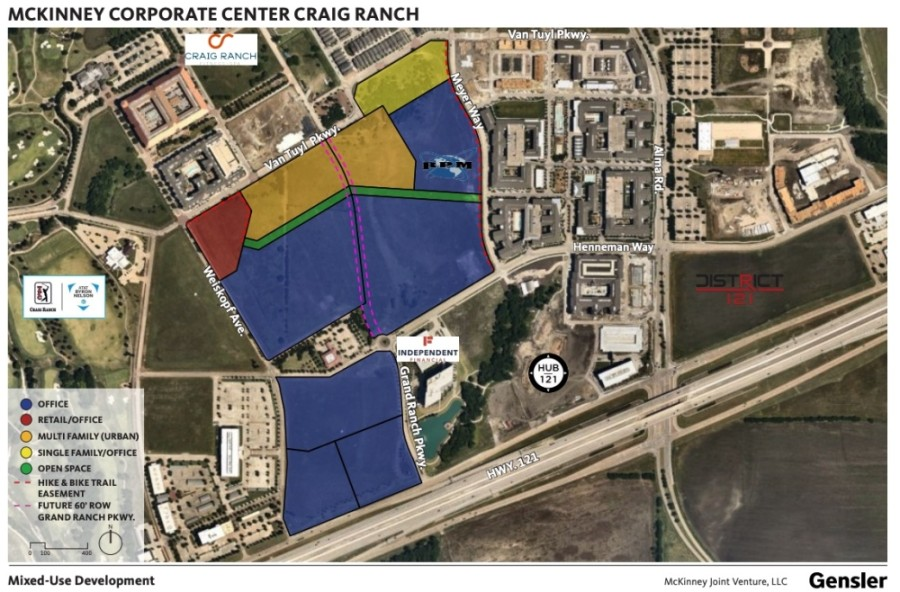 A new 62-acre mixed use development will feature office, residential and retail spaces fronting SH 121 in McKinney. (Courtesy McKinney Joint Venture LLC and Gensler)