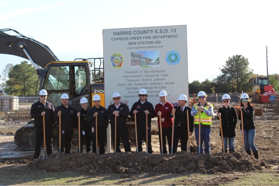 Officials with Harris County Emergency Services District No. 13 and the Cypress Creek Fire Department celebrated the ground breaking for a new fire station Dec. 4 on Fallbrook Drive south of Beltway 8 in Cy-Fair. (Shawn Arrajj/Community Impact Newspaper)