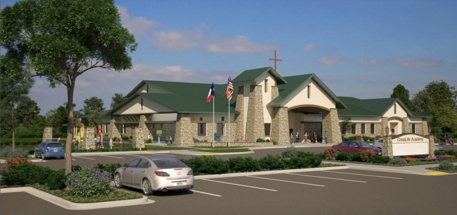 The upcoming private Christian school, located at 4109 Kelly Lane, Pflugerville, will offer education for pre-K and kindergarten students at the start of the 2021-22 academic year. (Rendering courtesy CrossLife Christian Academy)