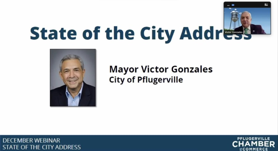 In his 2020 address, Pflugerville Mayor Victor Gonzales highlighted the achievements and difficulties of a year marked by the coronavirus pandemic. (Screenshot courtesy Pflugerville Chamber of Commerce)