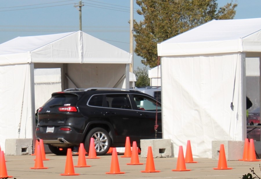 The free drive-thru COVID-19 saliva testing site operating in Frisco is located at the northwest corner of Technology Drive and World Cup Way. (William C. Wadsack/Community Impact Newspaper)
