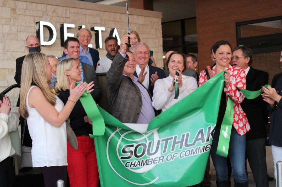 Southlake Mayor Laura Hill, chamber of commerce members and others attended the hotel's ribbon-cutting ceremony Dec. 9. (Sandra Sadek/Community Impact Newspaper)