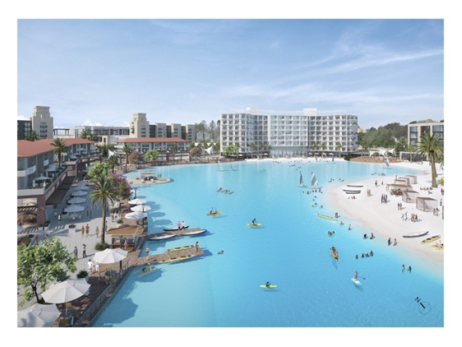 The public-access lagoon will serve as the centerpiece for more than 1 million square feet of commercial development, including a full-service hotel and conference center planned for the property. (Rendering courtesy city of Leander)