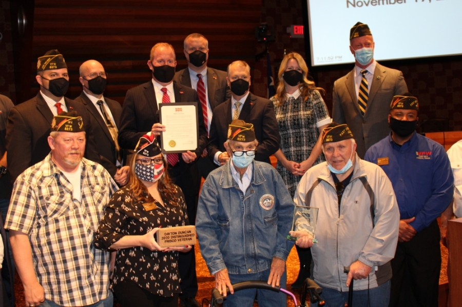 The city of Frisco recognized Dayton Duncan, front row, third from left, as the 2020 Distinguished Veteran of the Year during a Nov. 17 City Council meeting. (William C. Wadsack/Community Impact Newspaper)
