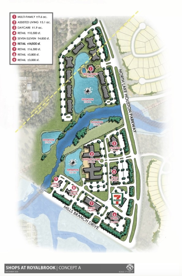 The Shops at Royal Brook, an incoming shopping center, will break ground in early 2021 at the northwest corner of West Lake Houston Parkway and Mills Branch Drive in Kingwood. (Courtesy Creighton Realty Partners)