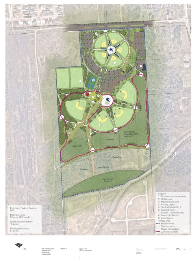 Bay Colony Park option 1 (Rendering courtesy city of League City, TBG Partners)