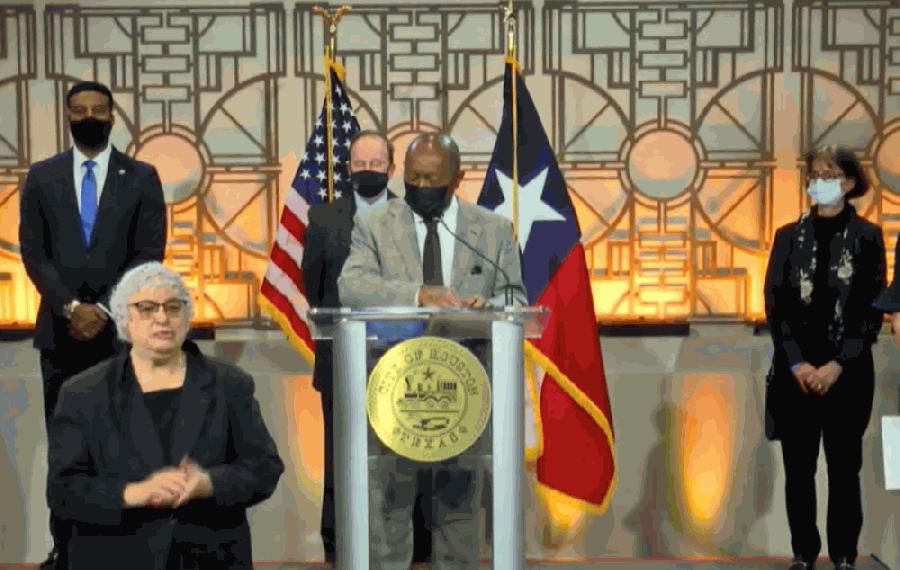 Mayor Sylvester Turner at press conference