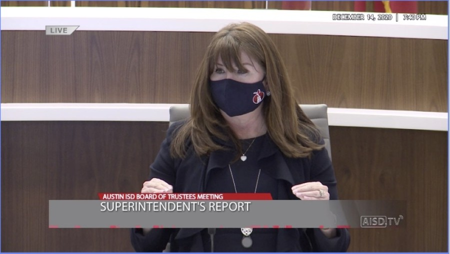 Superintendent Stephanie Elizalde spoke on in-person staffing exemptions and accommodations at Austin ISD's Dec. 14 meeting. (Courtesy Austin ISD)