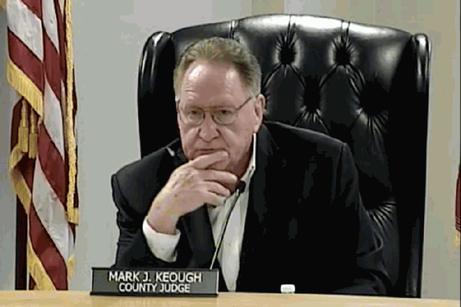 Montgomery County Judge Mark Keough listens to a presentation for using the county's remaining CARES Act funding. (Courtesy Montgomery County)