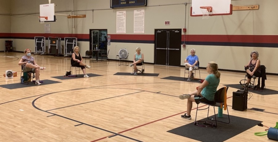 Active adults meet for a socially distanced fitness class programmed by the McKinney Senior Recreation Center. (Courtesy McKinney Parks and Recreation)