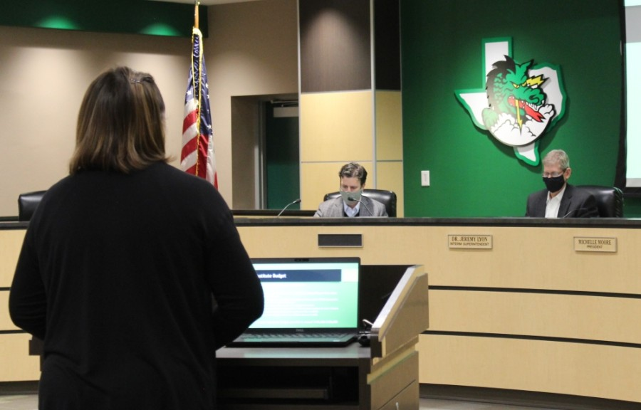 Lauren Wurman presents the district's latest updates on substitutes to the Carroll ISD board of trustees Dec. 14. (Sandra Sadek/Community Impact Newspaper)