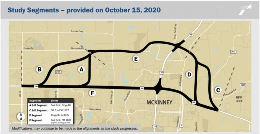 McKinney City Council passed a resolution Dec. 15 in favor of alignment B, shown in this image. (Courtesy city of McKinney)