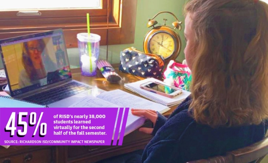 Ella Claire Bennett, an 11-year-old RISD student, participates in virtual school. (Courtesy Alissa Raymond Bennett)