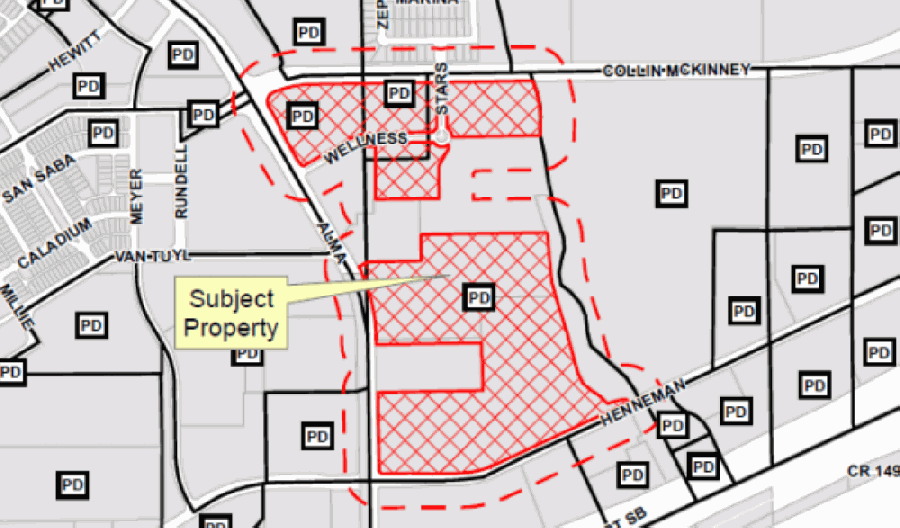 The overarching zoning of the property includes a total of 55.5 acres geared toward a mixture of commercial, hotel/motel, outdoor amusement and urban multifamily residential. (Courtesy city of McKinney)