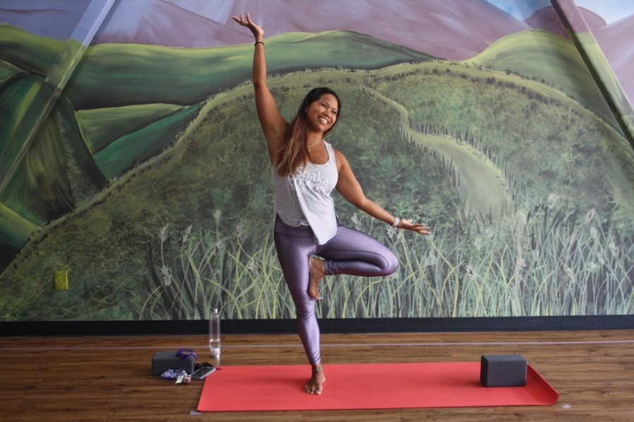 Jenny Normand owns and operates Shaka Power Yoga in Bridgeland. (Danica Lloyd/Community Impact Newspaper)