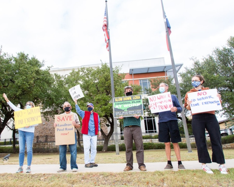 Residents held a protest outside of Bee Cave City Hall on Nov. 10. (Courtesy Nancy Hernandez)