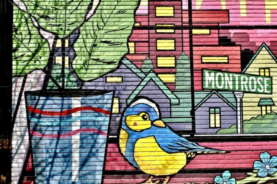 Michael C. Rodriguez's mural on Dunlavy Street in Montrose is one of hundreds of murals featured on the Houston Mural Map. (Matt Dulin/Community Impact Newspaper)