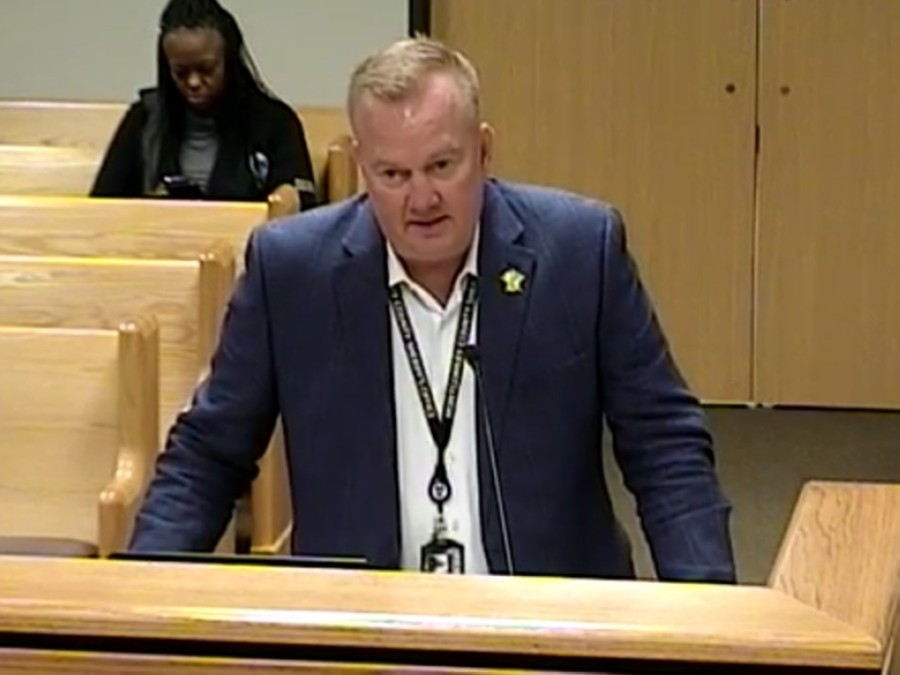 Montgomery County Sheriff Rand Henderson spoke at Montgomery County Commissioners Court on Dec. 15 about the interlocal agreement with The Woodlands Township for law enforcement. (Screenshot via Montgomery County Commissioners Court)