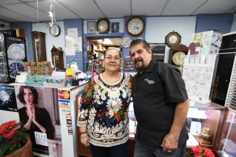Co-run by husband-wife duo Adelaida and Homero Capetillo, Mr. C Watch & Clock Repair has been operating since 1995. (Hunter Marrow/Community Impact Newspaper)