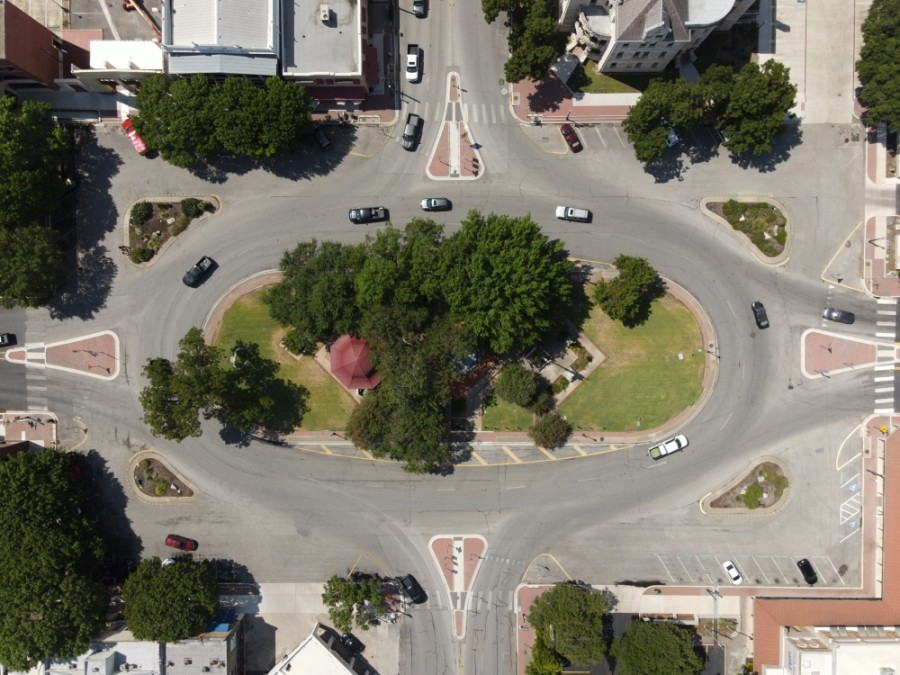 The city of New Braunfels is seen from above. (Warren Brown/Community Impact Newspaper)
