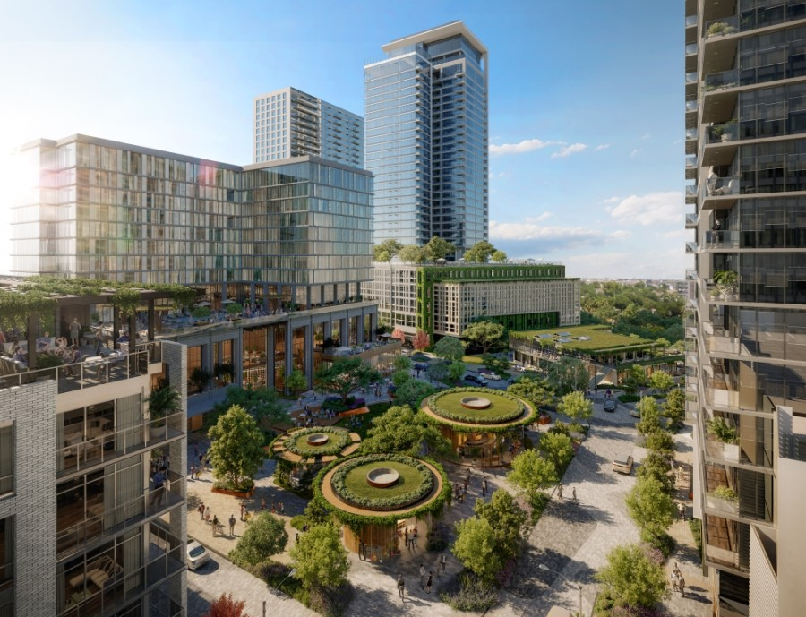 Developers unveiled plans for Autry Park, a 14-acre, mixed-use project along Buffalo Bayou. (Rendering courtesy Autry Park)