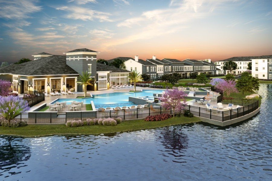 Community amenities include a clubhouse, a fitness center, a golf simulator room, a library, a conference room, a covered patio and a resort-style pool with poolside cabanas. (Rendering courtesy The Canopy at Springwoods Village)