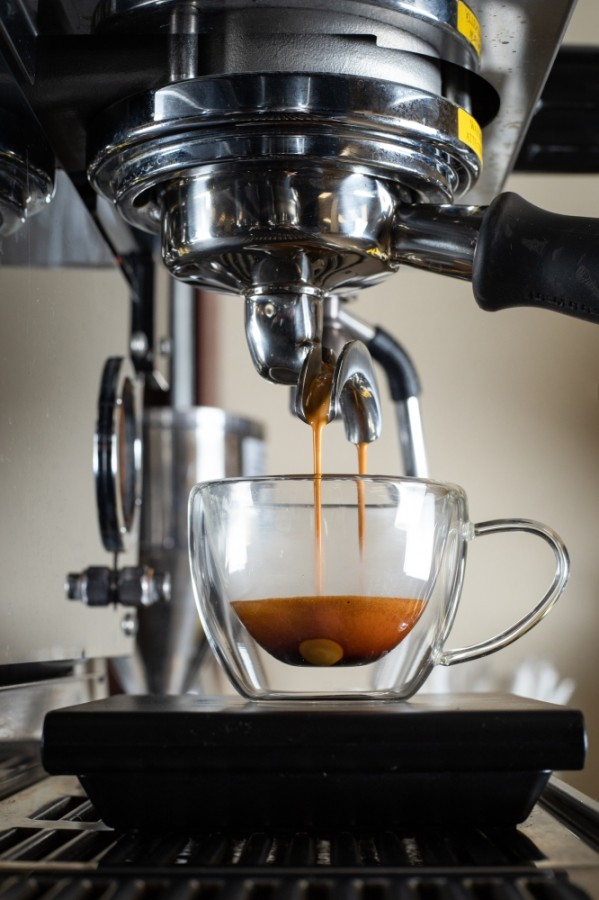 An espresso is brewed at Kinnor Coffee. (Courtesy Aaron Brown)