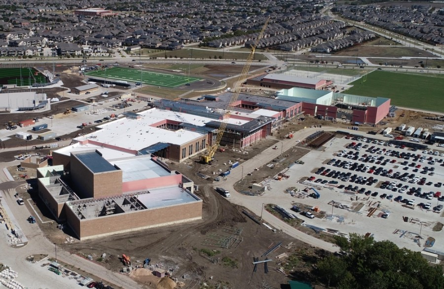 In preparation for the opening of Emerson High School, Frisco ISD has approved plans to shift school attendance zones for elementary and high schools. (Courtesy Core Construction)