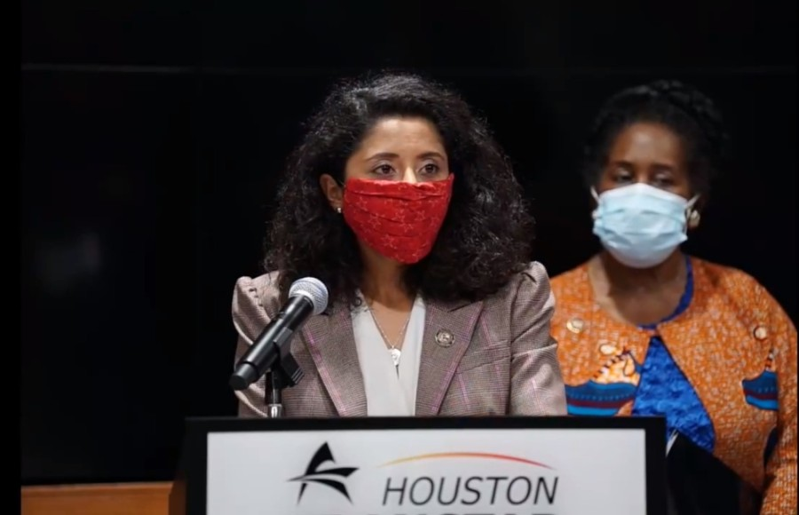 Harris County Judge Lina Hidalgo (left) and U.S. Rep. Sheila Jackson Lee, D-Houston (right) urged residents to cancel holiday gatherings to curb the spread of COVID-19 in a press conference Dec. 23. (Screenshot via Facebook Live)