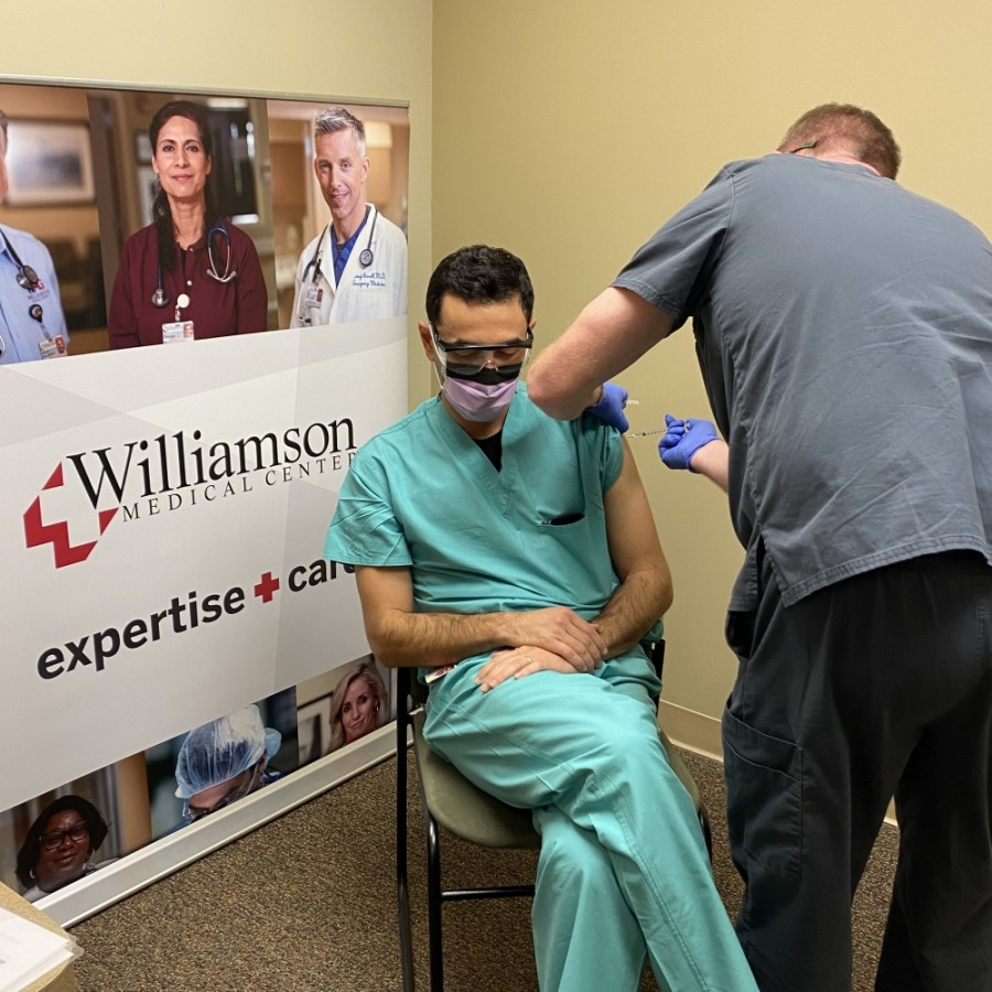 Dr. Tufik Assad was one of the workers at Williamson Medical Center who received the vaccine. He has been providing care for COVID-19 patients since March.(Courtesy Williamson Medical Center)