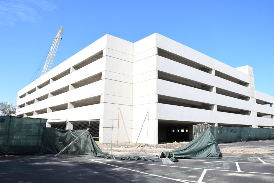 A 1,700-car parking garage is about 60% complete at the former Chevron property at 4800 Fournace Place, Bellaire, according to the developer. (Hunter Marrow/Community Impact Newspaper)