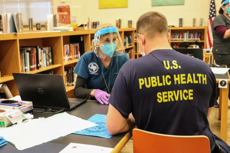 Frontline workers received the COVID-19 vaccine during the five-day vaccination clinic that started on Dec. 26 at Hutto High School. (Courtesy: WCCHD)