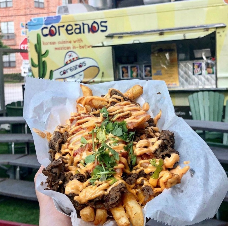 Menu items range from Kimcheese fries and Korean barbecue burritos to Korean barbecue tacos and rice bowls. (Courtesy Coreanos)