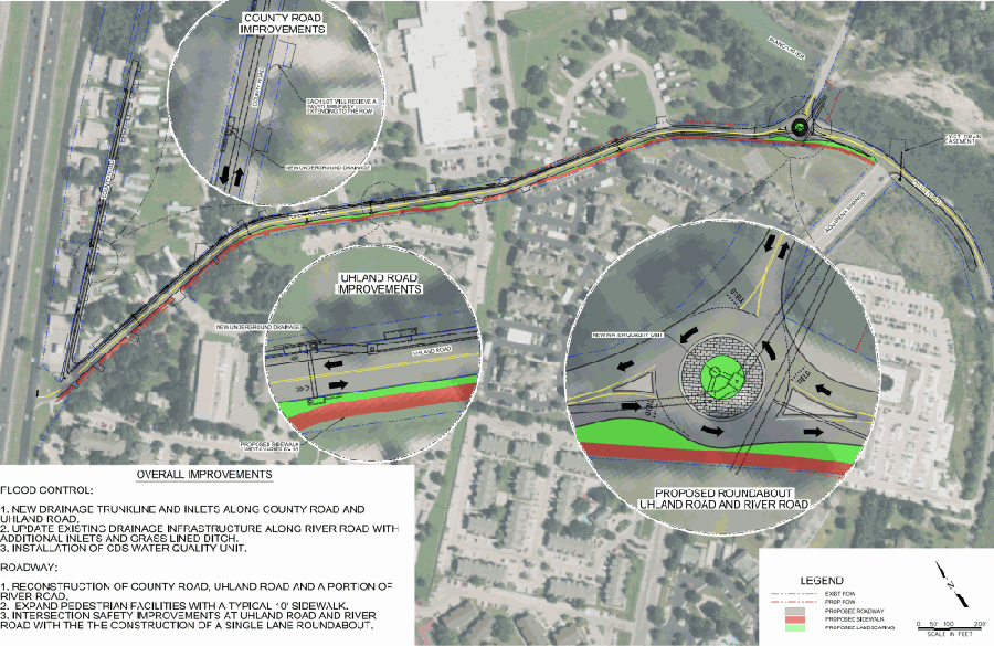 Uhland Road will receive a makeover that will include drainage improvements and a single-lane roundabout intersection. (Courtesy city of San Marcos)