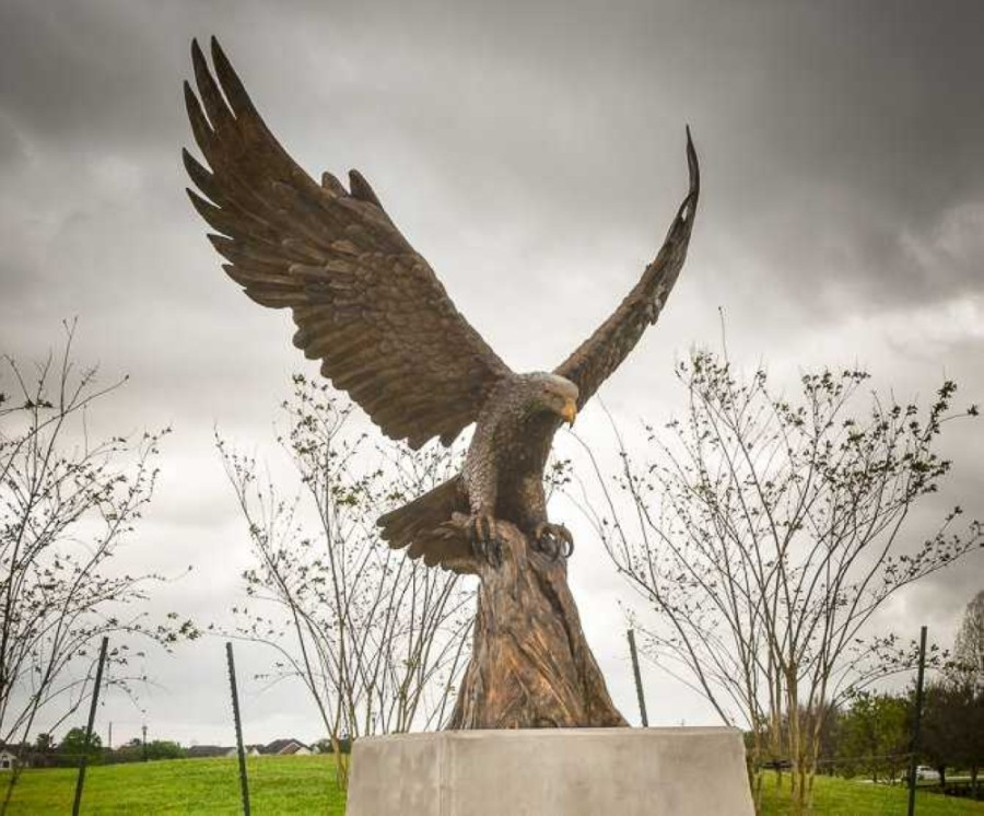The eagle statue was installed in Sugar Land Memorial Park during March of last year. (Courtesy Sugar Land Legacy Foundation)