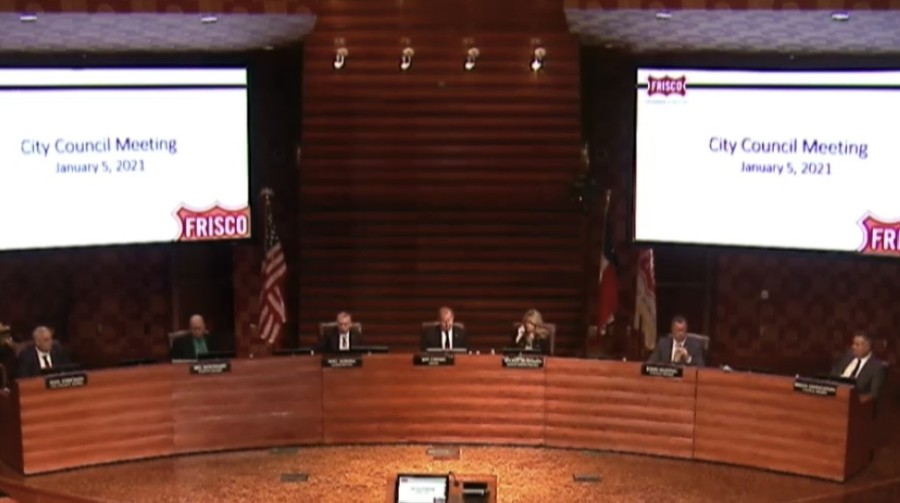 An ethics complaint against Frisco's mayor and three City Council members was dismissed in a 3-0 vote on Jan. 5. (Screenshot courtesy city of Frisco)