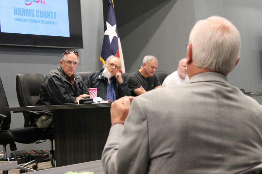 Harris County Emergency Services District No. 11 commissioners hear a report from Executive Director Doug Hooten on Jan. 7. (Andy Li/Community Impact Newspaper)