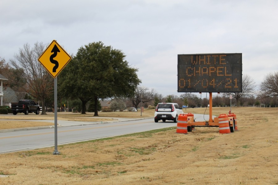 Colleyville and Southlake residents are facing detours on Pleasant Run Road and White Chapel Road due to a closure of the bridge over Big Bear Creek. (Kira Lovell/Community Impact Newspaper)